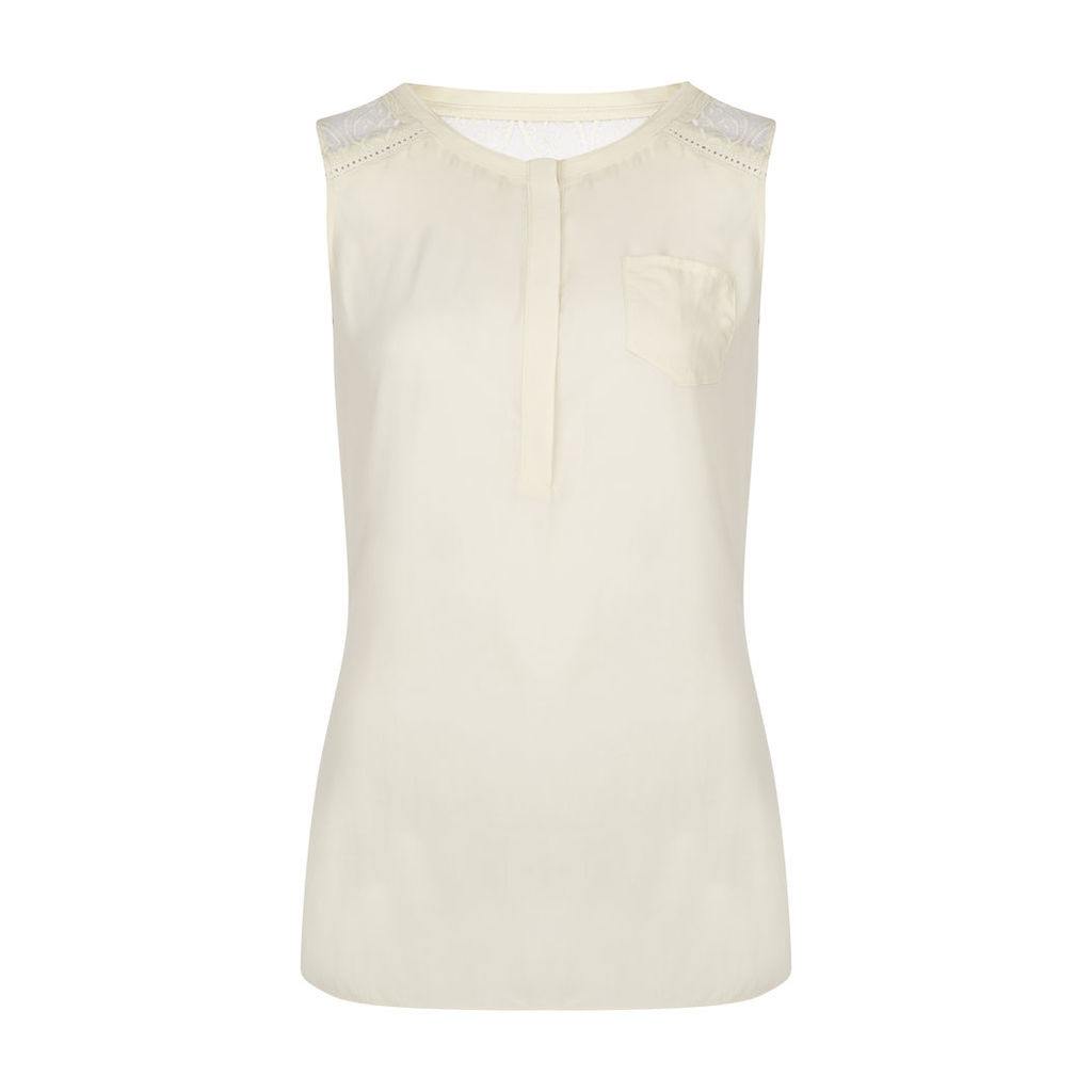 Sleeveless Lace Panel Front Top