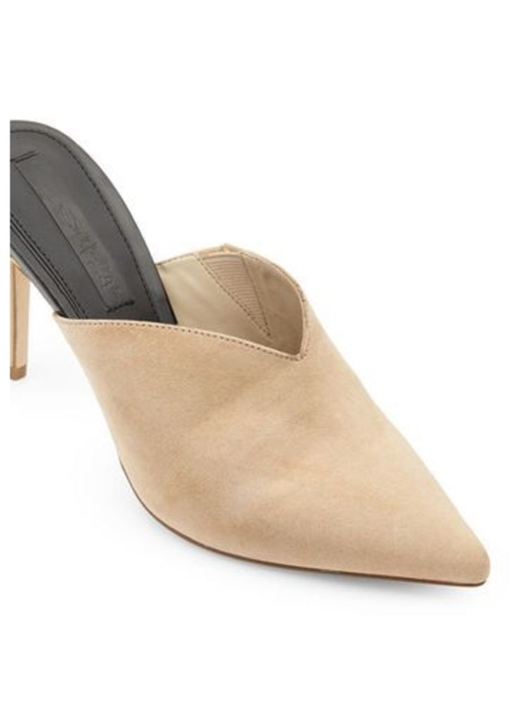 Womens LYCHEE Stiletto Mules, NUDE