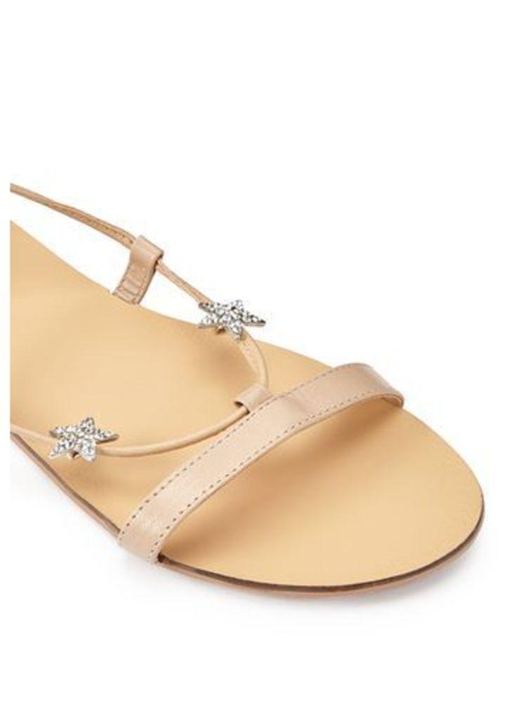 Womens PLUTO Star Flat Sandal, Nude