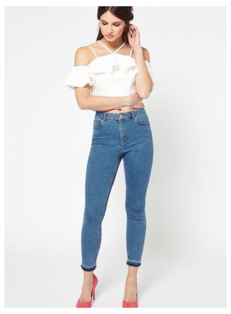 Womens LIZZIE Turn Down Light Jeans, Light Wash