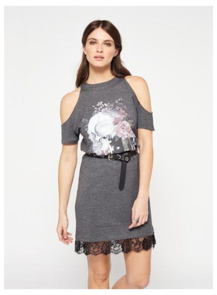 Womens Le Noir Lace Cold Shoulder T-Shirt Dress, Grey