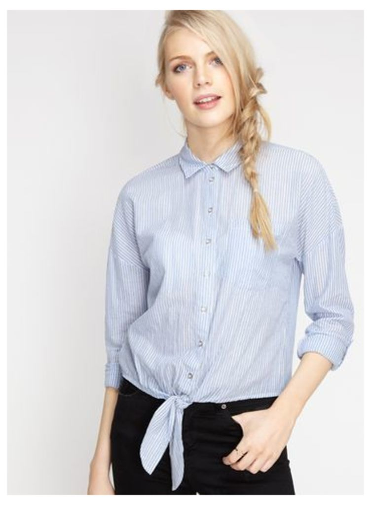 Womens Striped Tie Front Shirt, Assorted