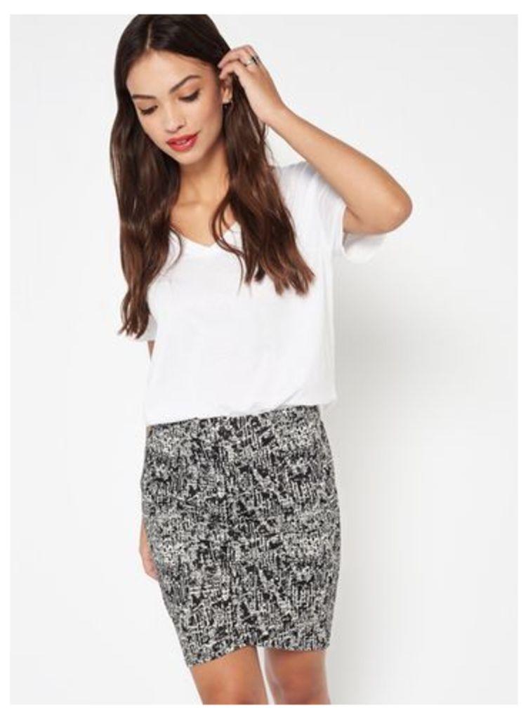 Womens Monochrome Front Mini Skirt, Black