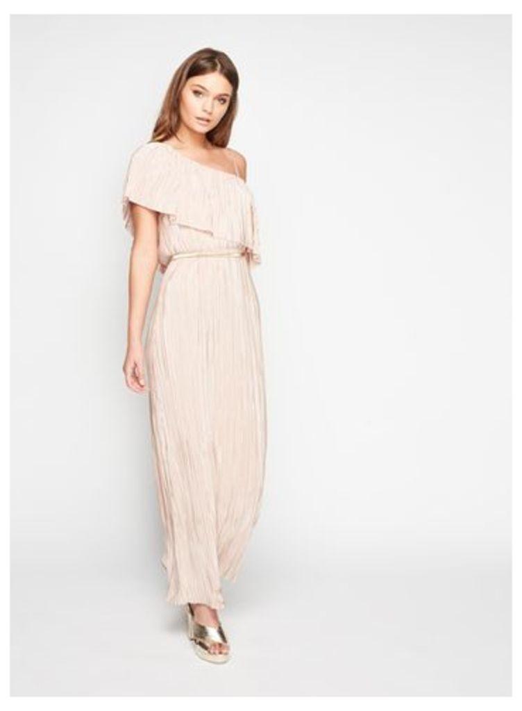 Womens PETITE Plisse Maxi Dress, NUDE