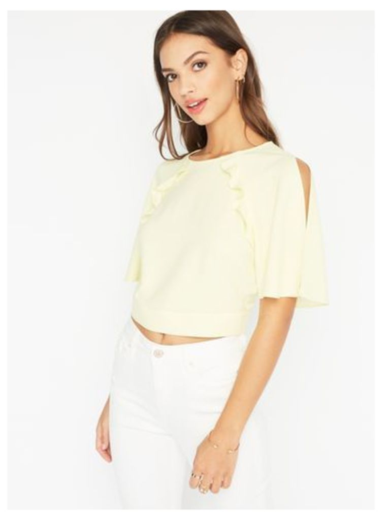 Womens Angel Sleeve Cold Shoulder Crop Top, Yellow