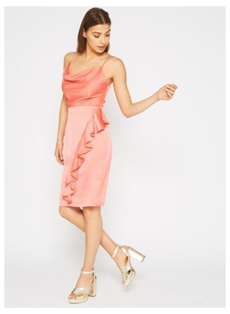 Womens Satin Cowl Neck Ruffle Dress, Pink