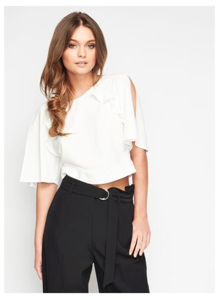 Womens White Angel Sleeve Cold Shoulder Top, Ivory