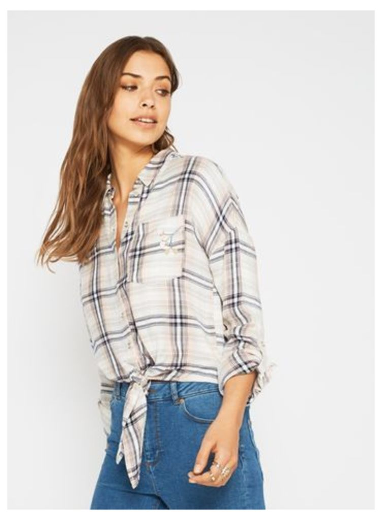 Womens Embroidered Tie Front Check Shirt, Assorted