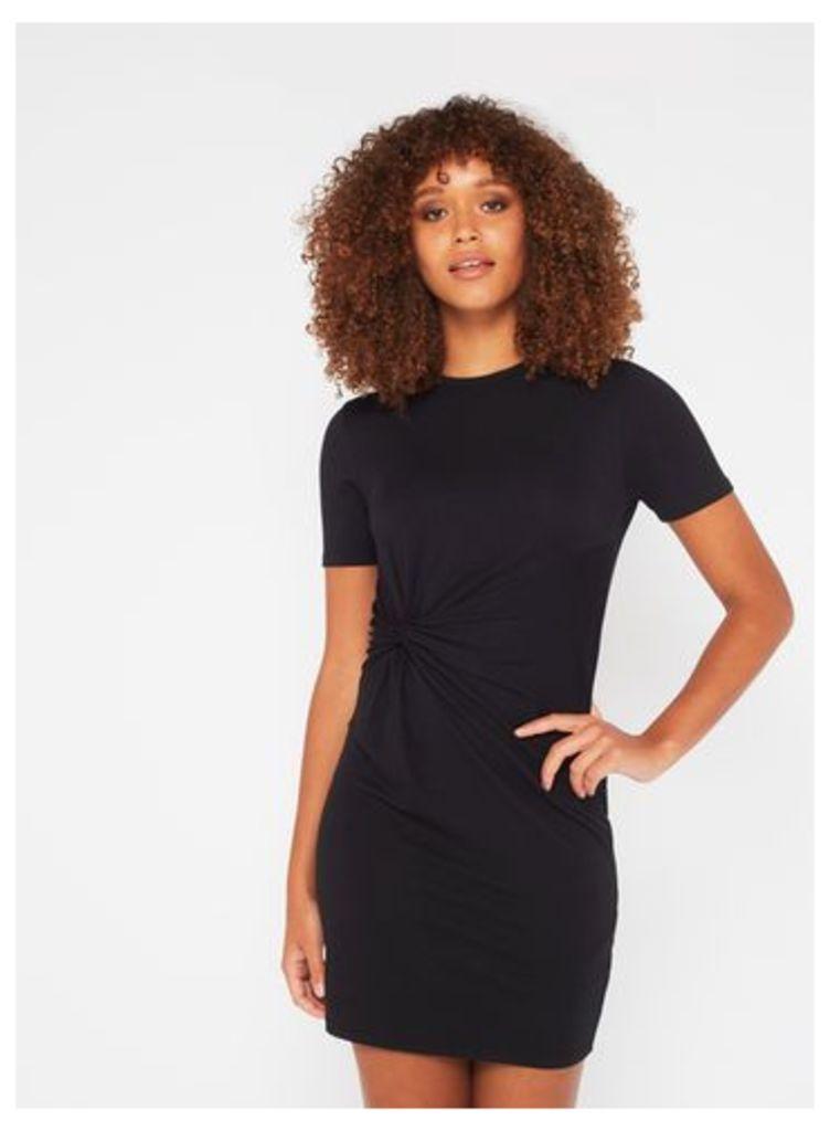 Womens PETITE Knot T-Shirt Dress, Black