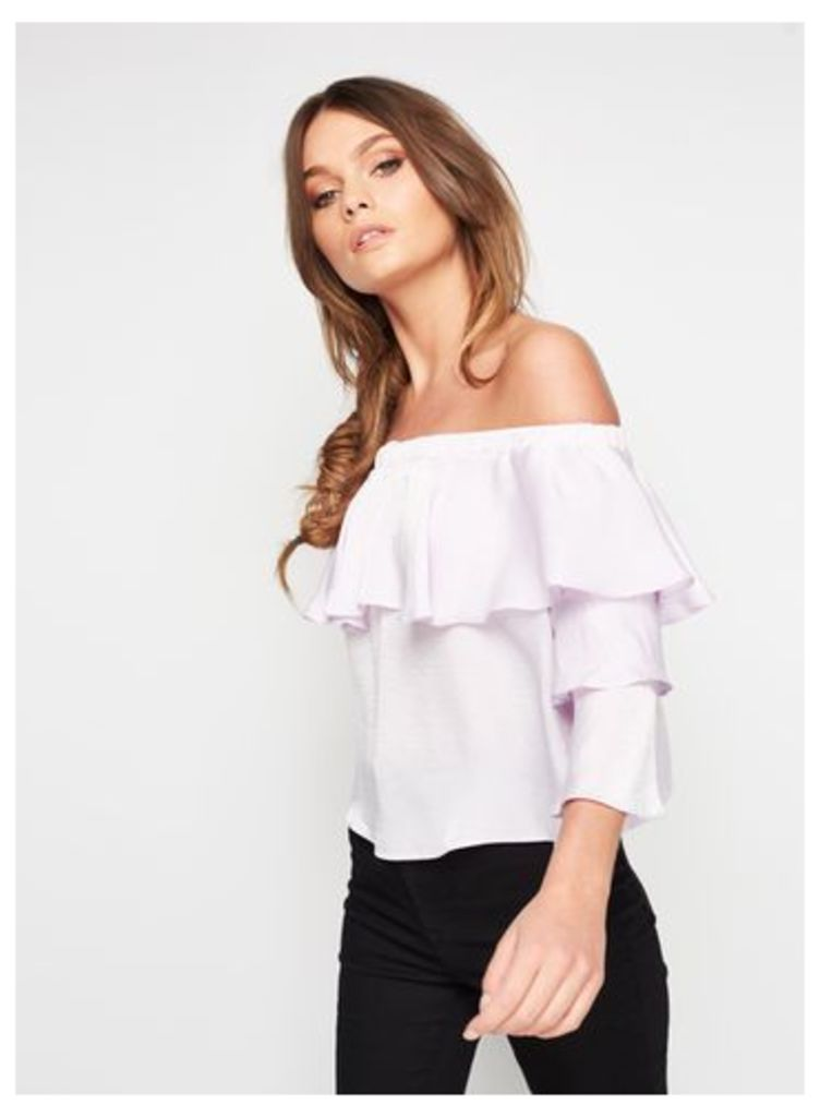 Womens PETITE Lilac Double Layer Blouse, Lilac