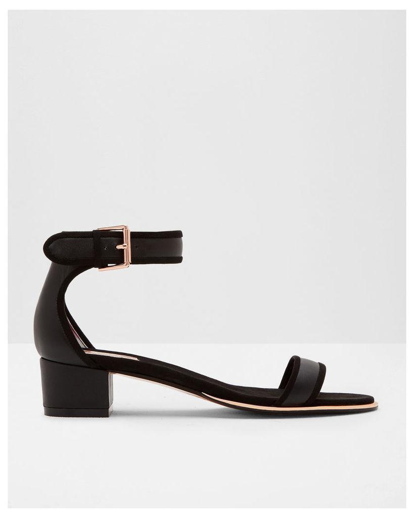 Ted Baker Ankle strap leather heeled sandals Black