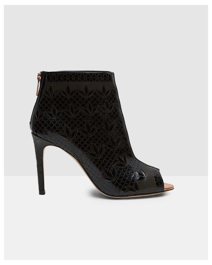 Ted Baker Laser cut leather heeled ankle boots Black