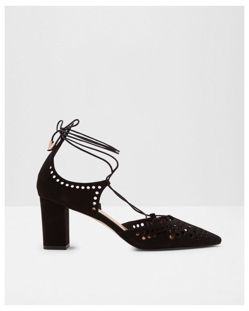 Ted Baker Laser cut leather heeled courts Black