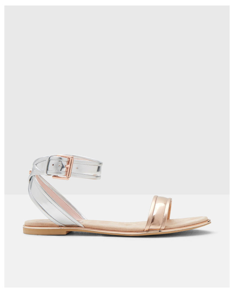 Ted Baker Cross-over strap leather sandals Rose Gold