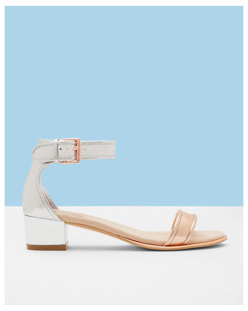 Ted Baker Ankle strap leather heeled sandals Rose Gold