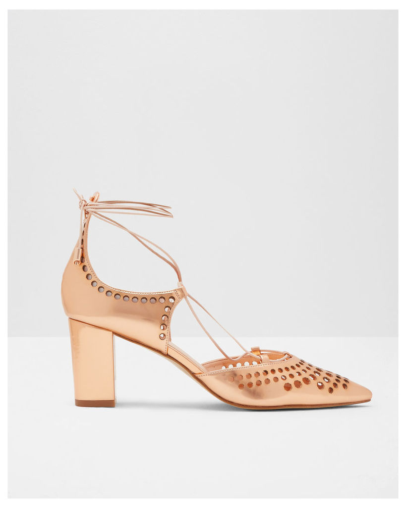 Ted Baker Laser cut leather heeled courts Rose Gold