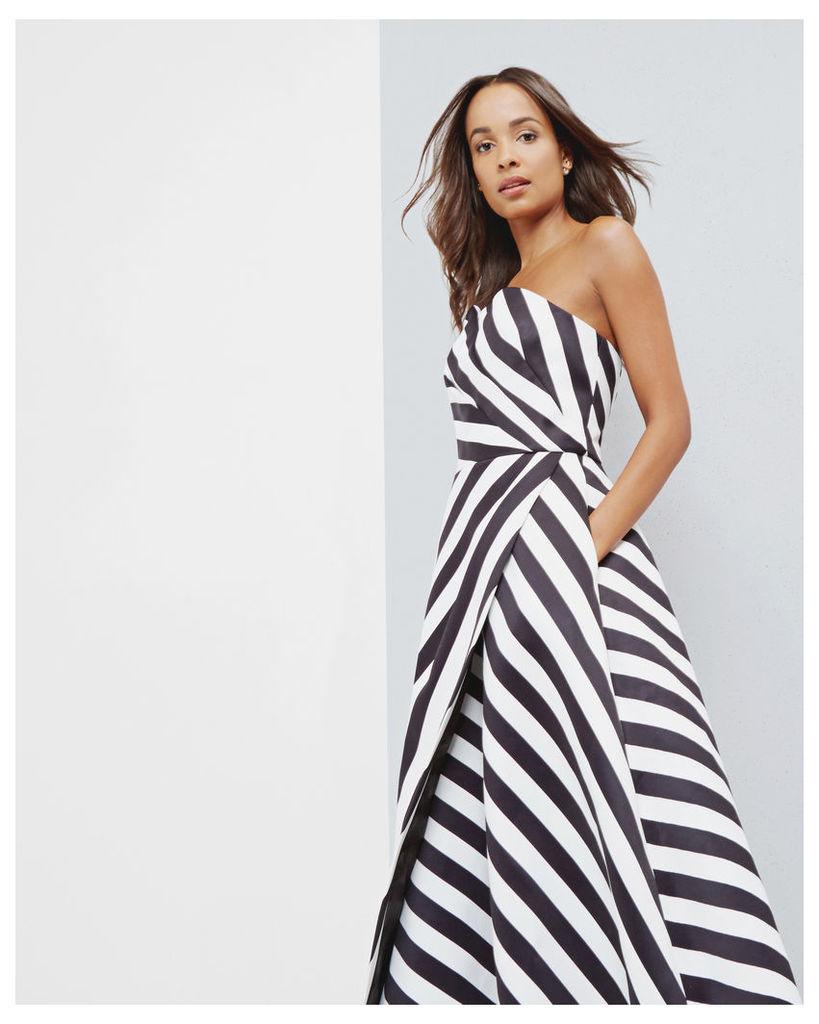 Ted Baker Strapless striped dress Black