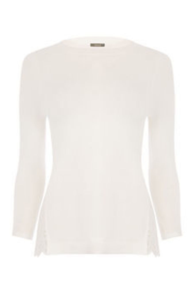 Woven split side broidere top