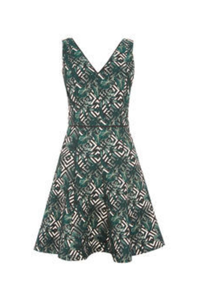 TROPICAL GEO JACQUARD DRESS