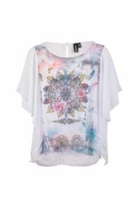 Batwing Frill Ethnic Print Top