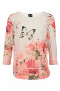 Mesh 3/4 Sleeve Floral Print Top