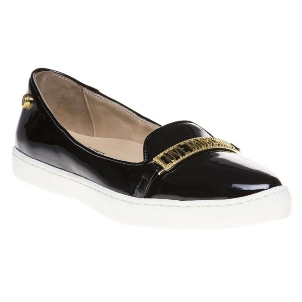 Love Moschino Pointed Logo Slip On Shoes, Black
