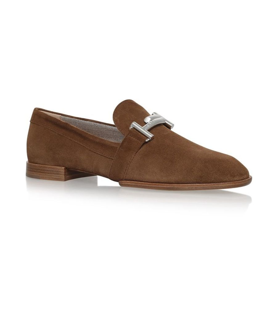 Tod'S, Suede Doppia T-Bar Loafers, Female