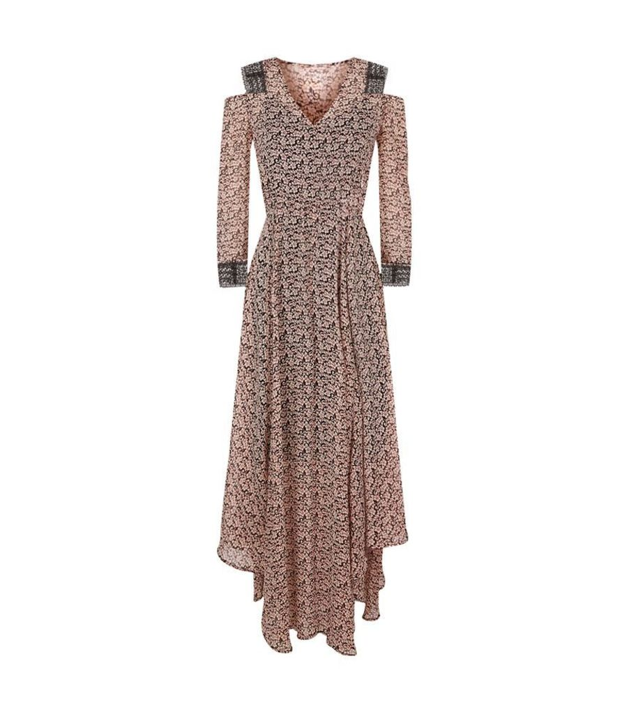 Maje, Riano Printed Cold Shoulder Midi Dress, Female