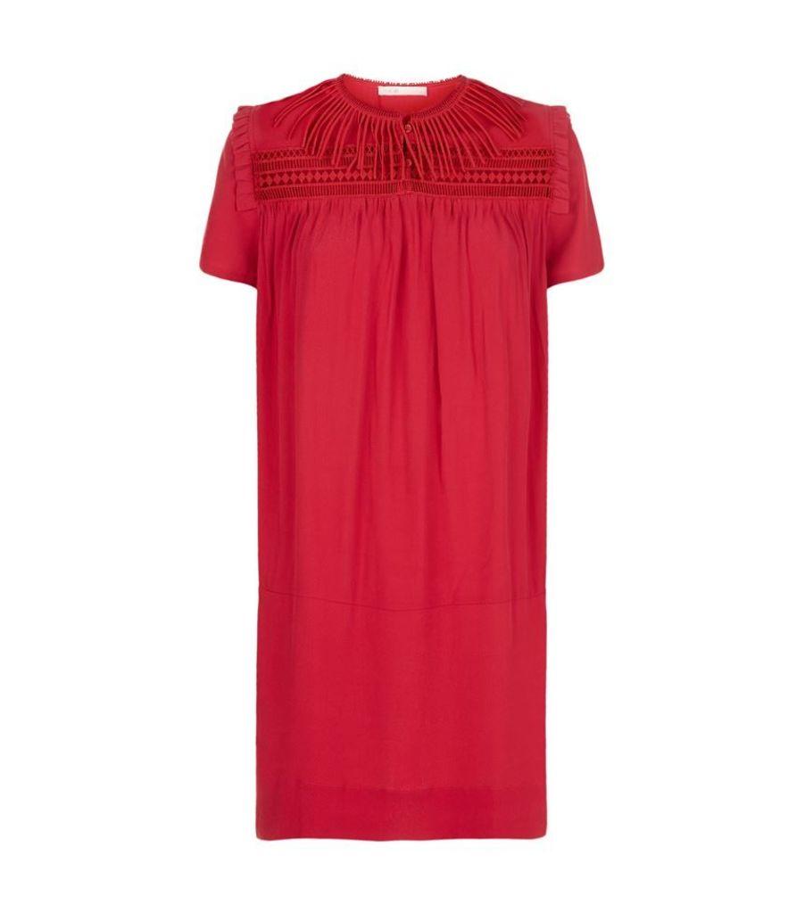 Maje, Riseta Crochet Fringe Detail Dress, Female