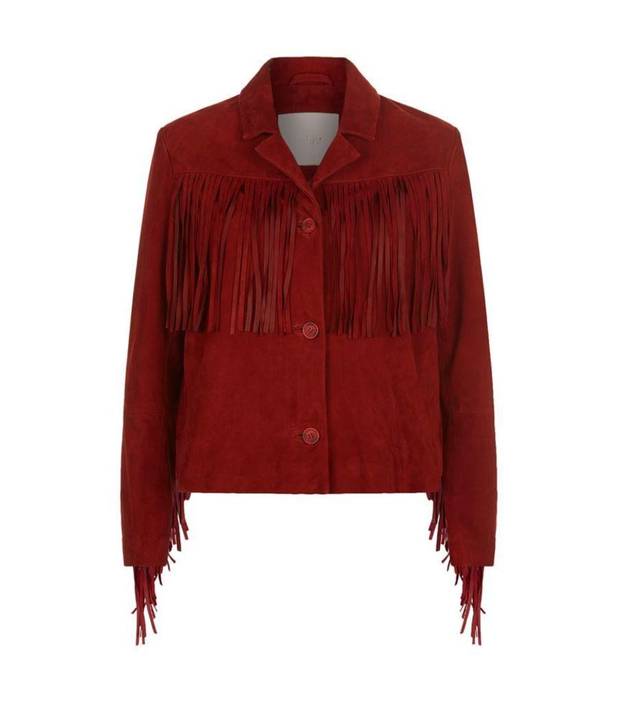 Maje, Leather Jacket With Fringe, Female