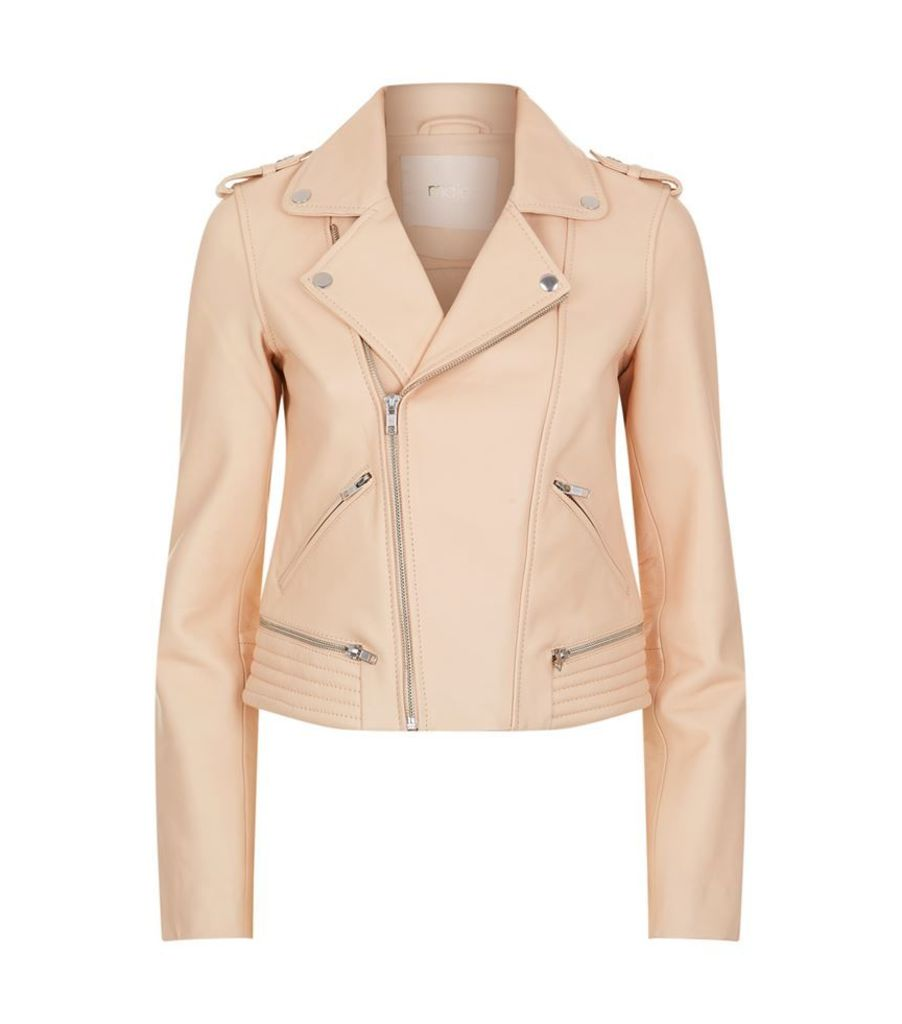 Maje, Basalt Leather Biker Jacket, Female