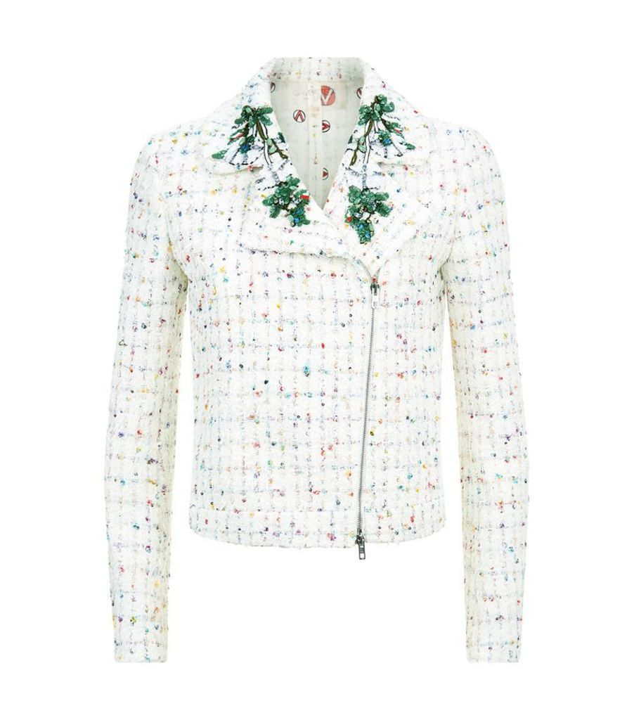 Giambattista Valli, Embellished Tweet Biker Jacket, Female