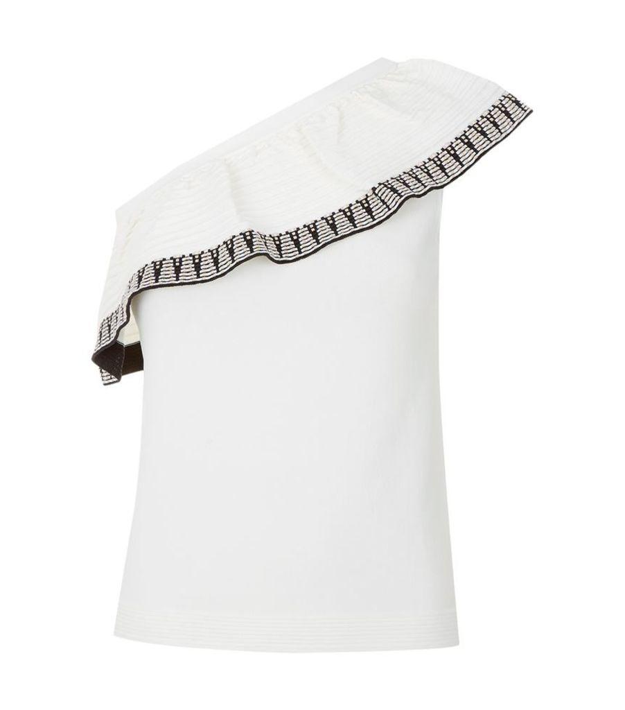 Maje, Mashup Asymmetric Ruffle Knit Top, Female