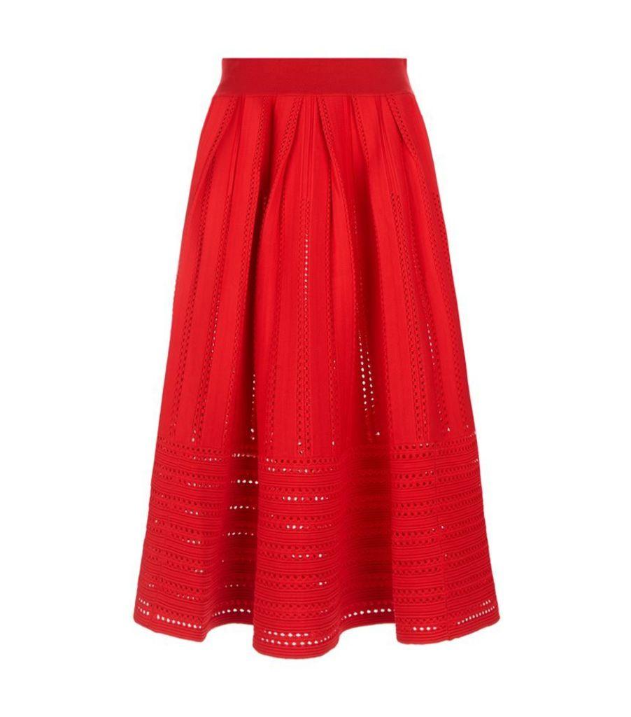 Maje, Jubio Crochet Cut-Out Midi Skirt, Female