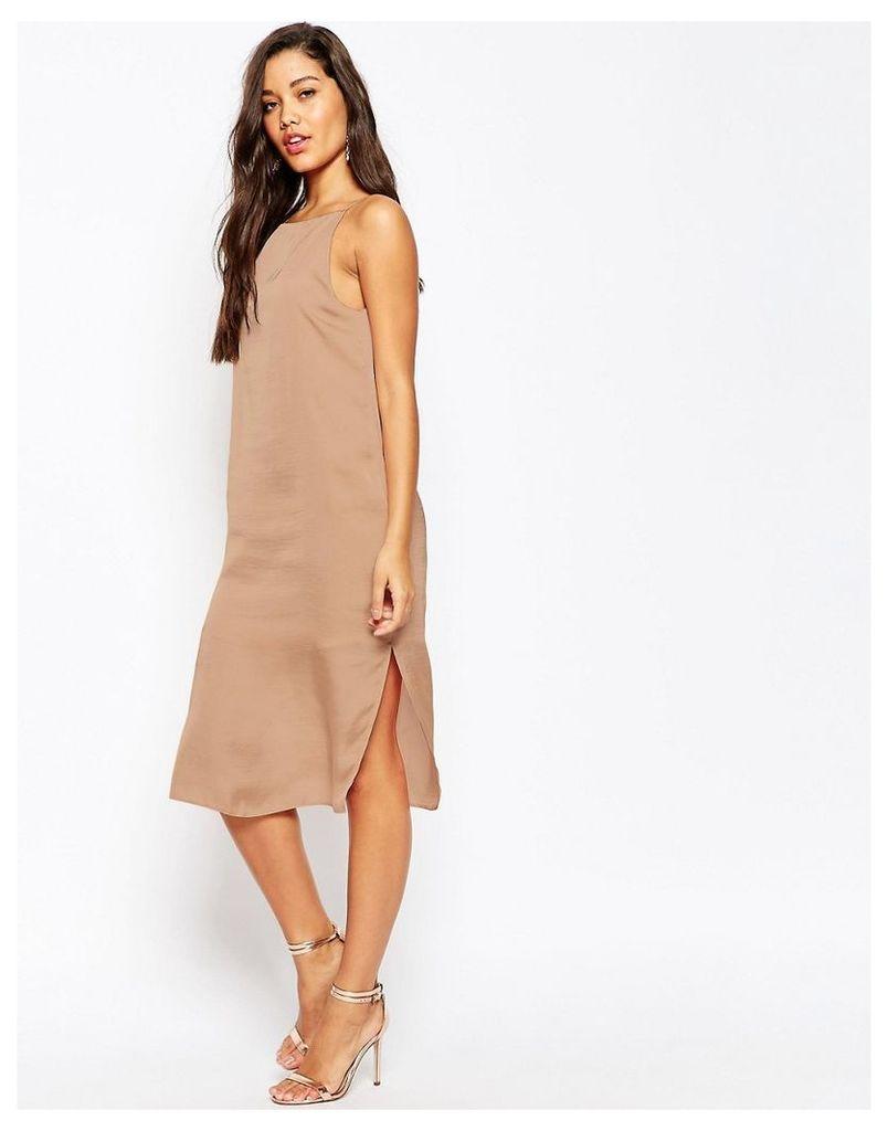 ASOS Midi Cami Slip Dress in Hammered Satin - Pink