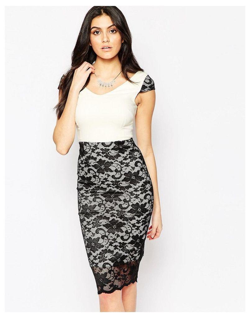 Vesper Kayla Midi Dress with Lace Skirt - Ivory