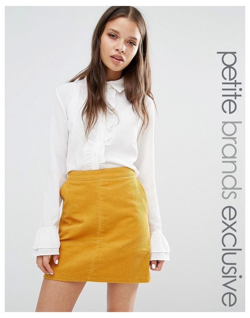 Fashion Union Petite Frill Front Blouse With Cuff Detail - White