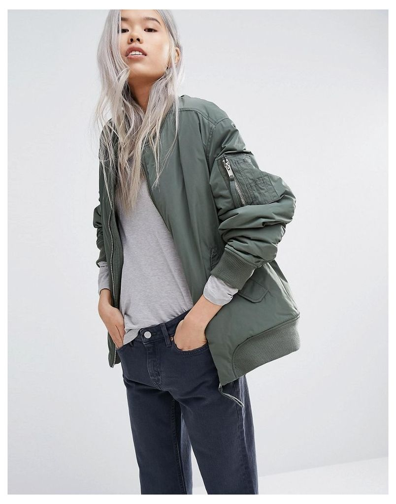 Weekday Padded Bomber Jacket with Contrast Lining - Green