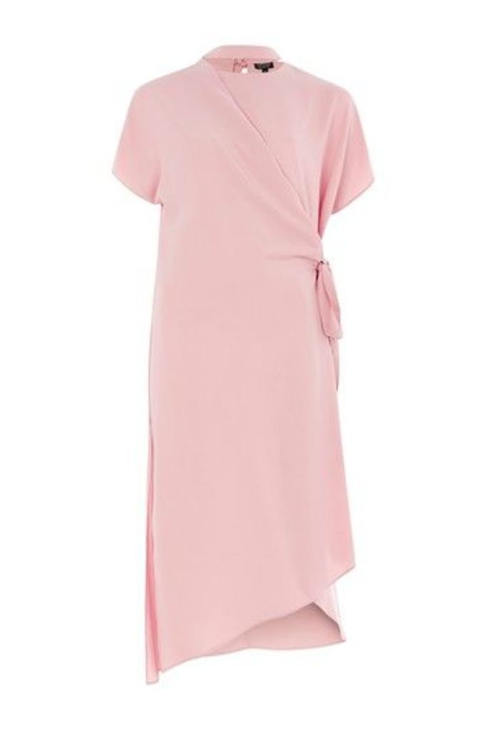 Womens Slash Neck Wrap Midi Dress - Blush, Blush