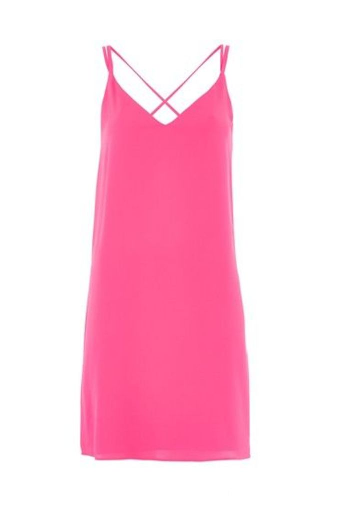 Womens Cross Strap Slip Dress - Magenta, Magenta