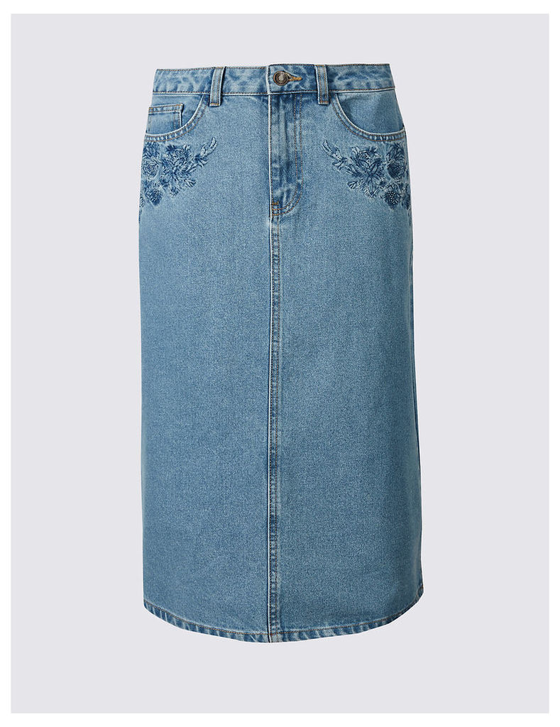 M&S Collection Denim Embroidered A-Line Midi Skirt