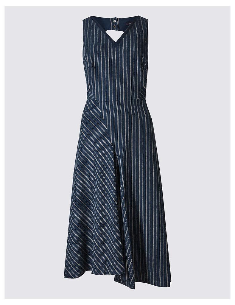 M&S Collection Linen Rich Striped Asymmetric Skater Dress