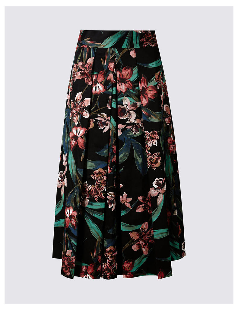 M&S Collection Cotton Rich Floral Print A-Line Midi Skirt