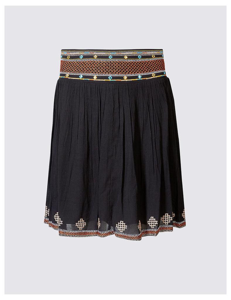 Indigo Collection Mirror Embroidered Skater Mini Skirt
