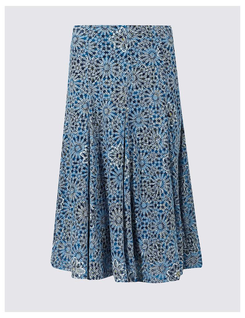 Classic Cotton Blend Floral Print A-Line Midi Skirt
