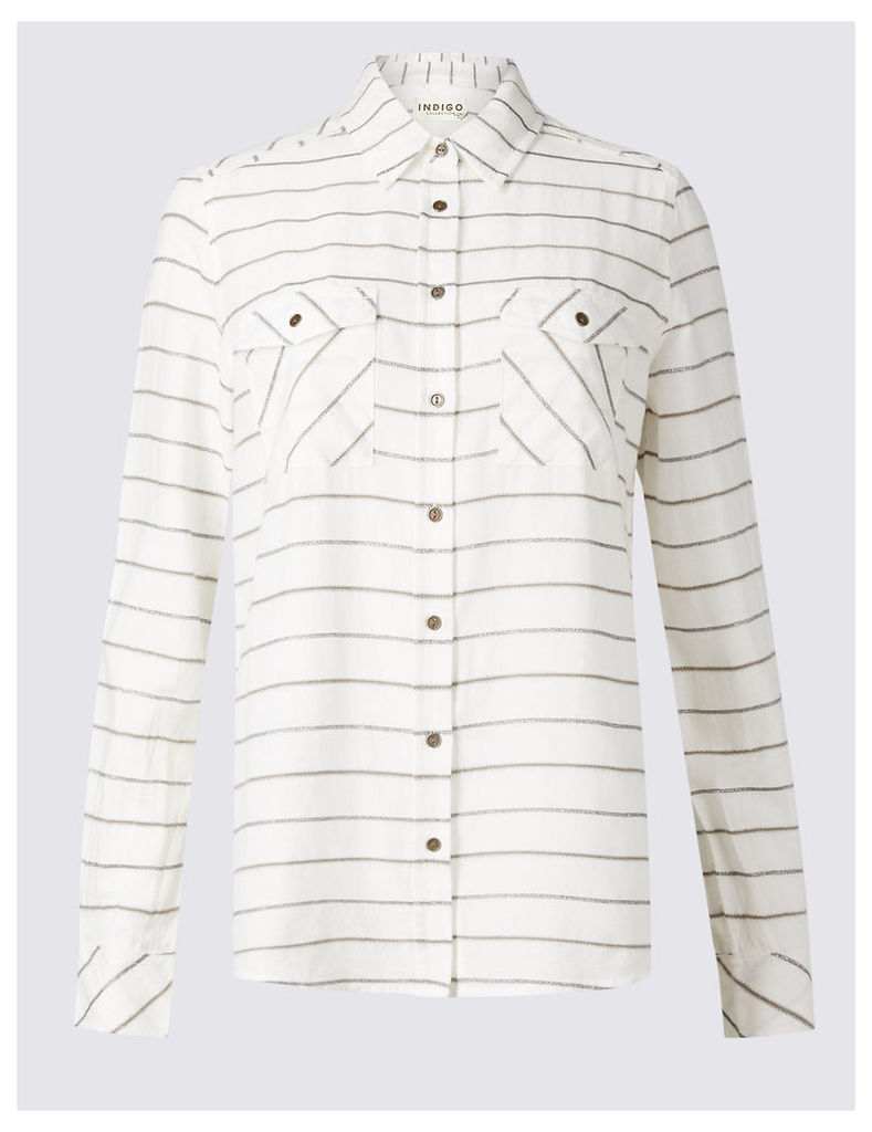 Indigo Collection Cotton Rich Striped Long Sleeve Shirt