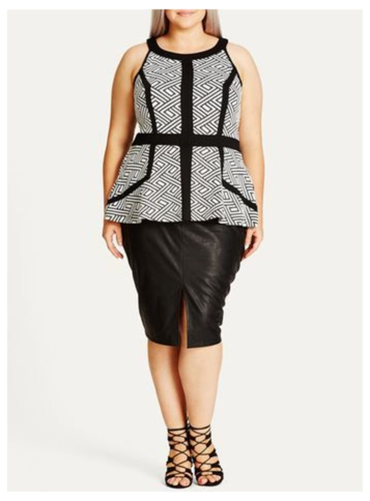 City Chic Monochrome Geometric Print Peplum Dress, Black