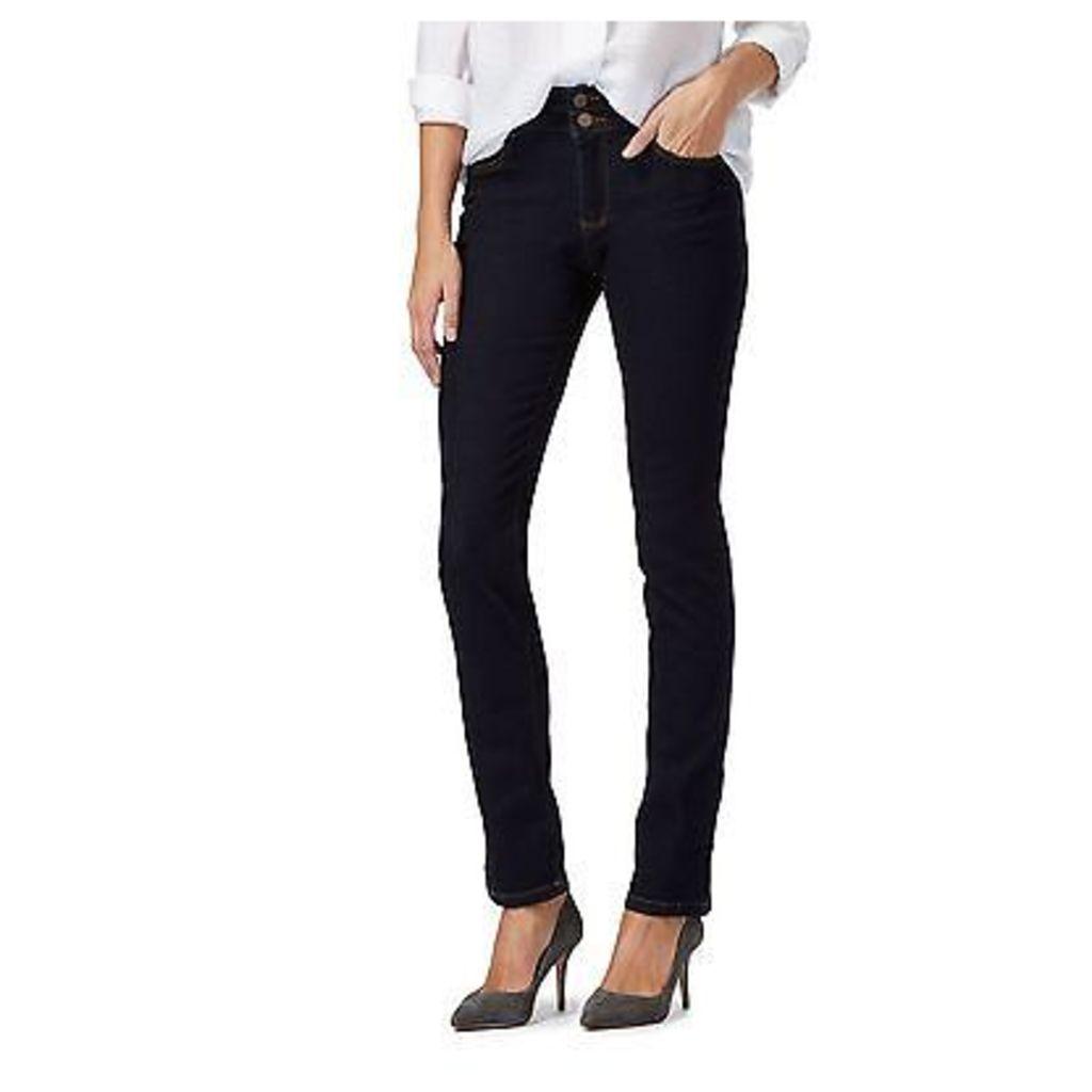 J By Jasper Conran Womens Dark Blue High Waisted Straight Fit Jeans