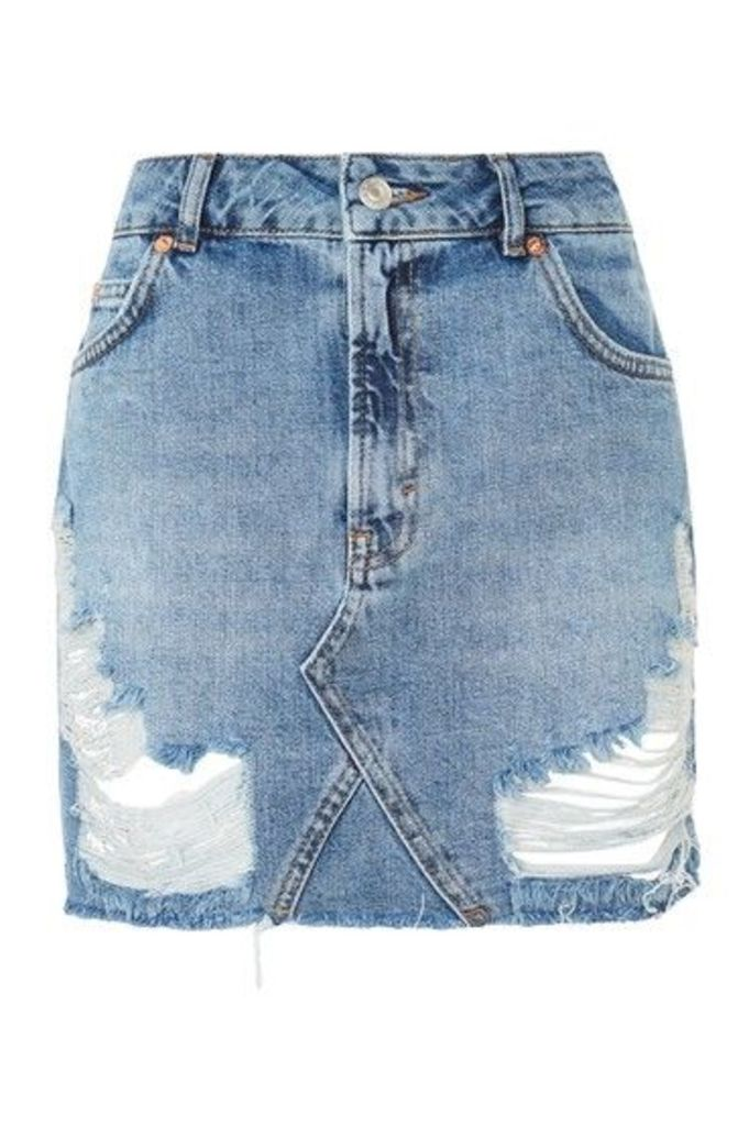 Womens MOTO Rip Denim Mini Skirt - Mid Stone, Mid Stone