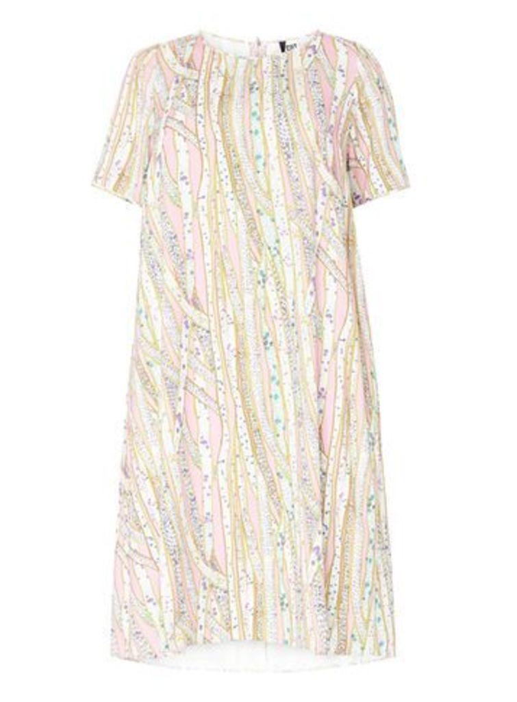Cut for Evans Pink Tunic Dress, Dark Multi